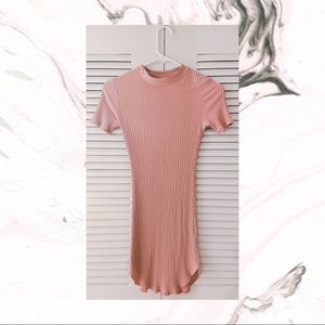 Blush pink turtle neck ribbed bodycon dress